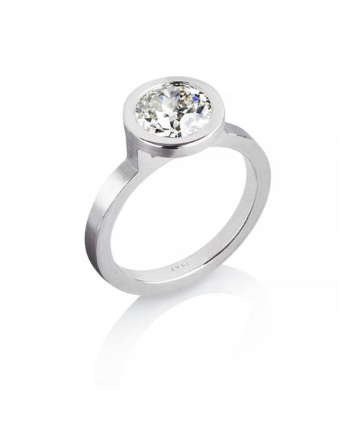 Platinum Bezel Setting for 1.67ct Diamond Engagement Ring