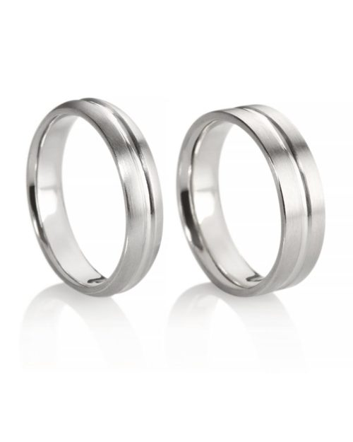 Platinum Groove Wedding Bands