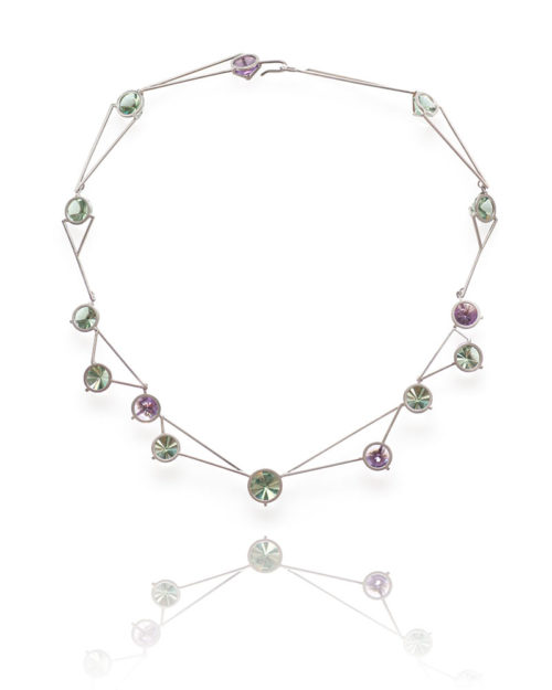 14k Gold Pink & Green Amethyst Necklace