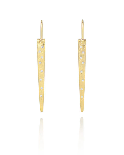 18k Gold Diamond Icicle Earrings